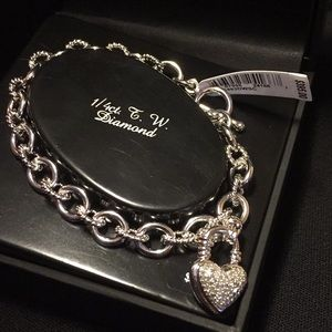 Jewelry - $395 NWT Diamond Heart Sterling Silver Bracelet